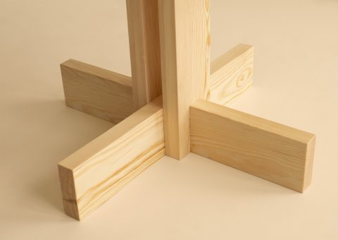Wooden dining table details