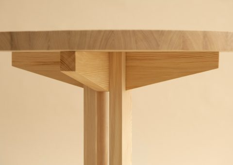 Wooden dining table sideview